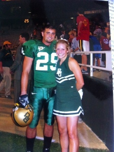 football player and cheerleader