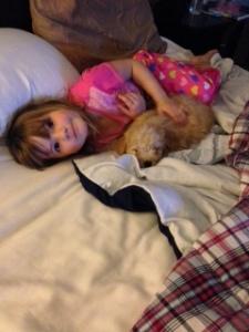 Ellie cuddling Keller